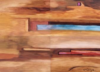 Óleo sobre papel sobre madera