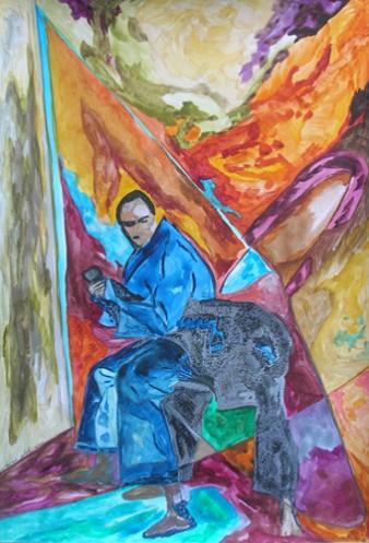 Jiujitsu Acuarela y Acrílico sobre papel 50 x 35 cm